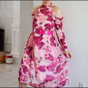 Pink Floral Off Shoulder Midi Dress